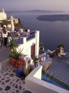 View Toward Caldera, Imerovigli, Santorini, Greece by Connie Ricca