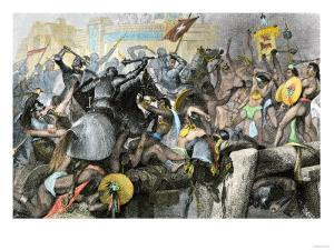 Conquest of the Aztec Capital Tenochtitlan by the Spanish Army of Hernando Cortes, c.1500