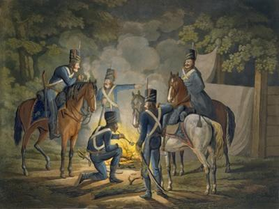 Prussian Hussars on a Night Picket, C.1799-1802 (Colour Litho)