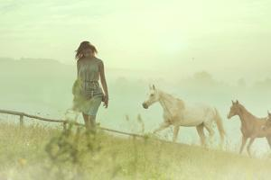 Beautiful Woman and Horses by conrado