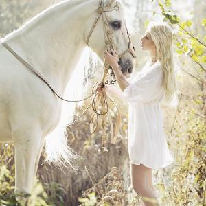 Portrait of a Beauty Blondie with Horse by conrado