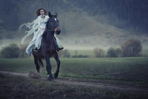 Sensual Young Beauty Riding a Horse by conrado