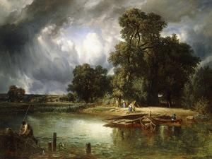 The Ferry Crossing, 1849 by Constant-emile Troyon