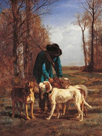 Game Keeper Stops Near His Dogs