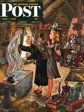 """Attic Treasure,"" Saturday Evening Post Cover, June 7, 1947 by Constantin Alajalov"