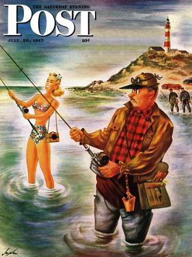 """Bikini Surf Fisher,"" Saturday Evening Post Cover, July 26, 1947 by Constantin Alajalov"