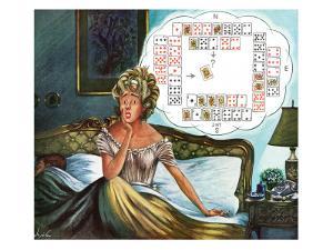 """Bridge Hand Disturbs Sleep,"" December 1, 1962 by Constantin Alajalov"