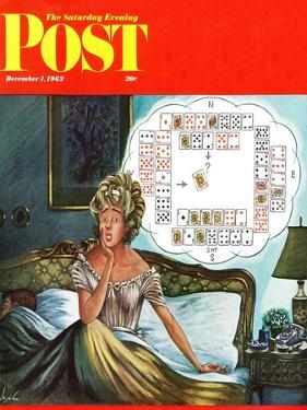 """Bridge Hand Disturbs Sleep,"" Saturday Evening Post Cover, December 1, 1962 by Constantin Alajalov"