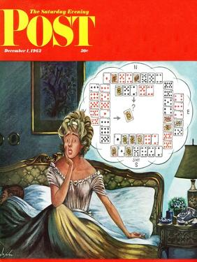 """Bridge Hand Disturbs Sleep,"" Saturday Evening Post Cover, December 1, 1962 by Constantin Alajalov"