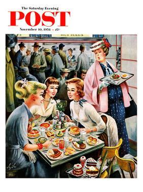 """Cafeteria Dieter"" Saturday Evening Post Cover, November 10, 1956 by Constantin Alajalov"