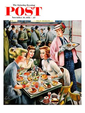 """Cafeteria Dieter"" Saturday Evening Post Cover, November 10, 1956 by Constantin Alajalov"