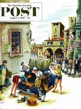 """Coed Tourists in Italy"" Saturday Evening Post Cover, August 2, 1958 by Constantin Alajalov"