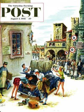 """""""Coed Tourists in Italy"""" Saturday Evening Post Cover, August 2, 1958 by Constantin Alajalov"""