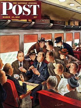 """""""Commuter Card Game,"""" Saturday Evening Post Cover, March 15, 1947 by Constantin Alajalov"""