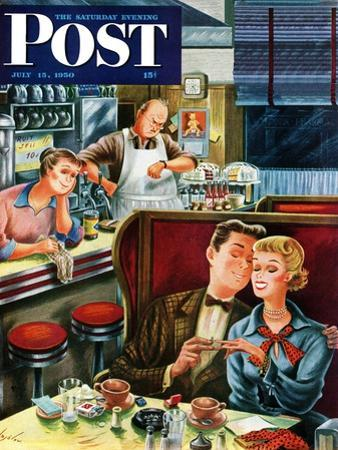 """""""Diner Engagement"""" Saturday Evening Post Cover, July 15, 1950 by Constantin Alajalov"""