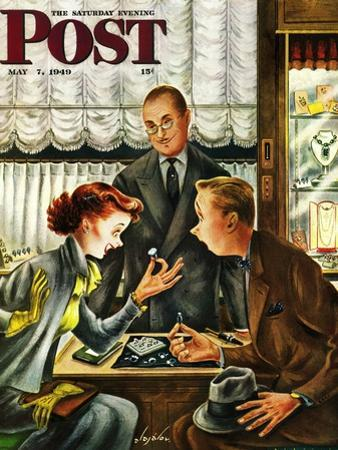 """""""Engagement Ring,"""" Saturday Evening Post Cover, May 7, 1949 by Constantin Alajalov"""