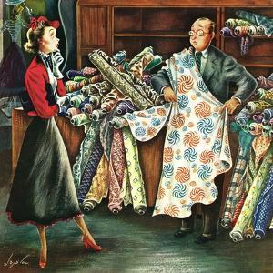 """""""Fabric Store,"""" May 22, 1948 by Constantin Alajalov"""