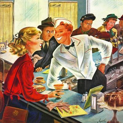 """""""Flirting Soda Jerk,"""" October 11, 1947 by Constantin Alajalov"""