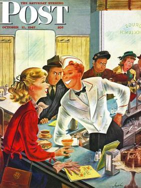 """""""Flirting Soda Jerk,"""" Saturday Evening Post Cover, October 11, 1947 by Constantin Alajalov"""