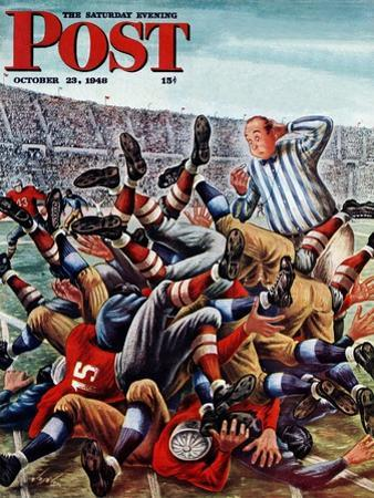"""Football Pile-up,"" Saturday Evening Post Cover, October 23, 1948 by Constantin Alajalov"