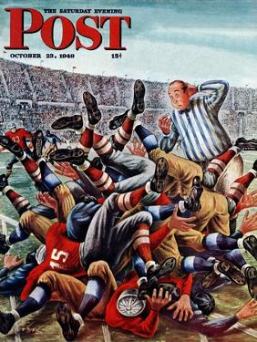 """""""Football Pile-up,"""" Saturday Evening Post Cover, October 23, 1948 by Constantin Alajalov"""