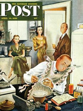 """Gourmet Cook?,"" Saturday Evening Post Cover, April 13, 1946 by Constantin Alajalov"