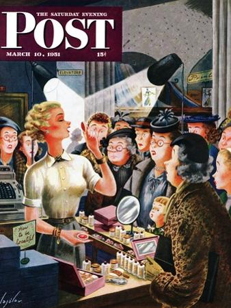 """""""Makeup Counter"""" Saturday Evening Post Cover, March 10, 1951 by Constantin Alajalov"""