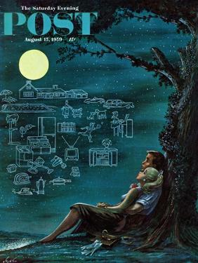 """""""Moonlit Future"""" Saturday Evening Post Cover, August 15, 1959 by Constantin Alajalov"""