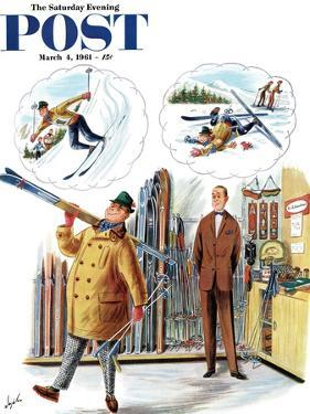 """""""New Skier,"""" Saturday Evening Post Cover, March 4, 1961 by Constantin Alajalov"""