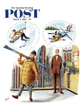 """New Skier,"" Saturday Evening Post Cover, March 4, 1961 by Constantin Alajalov"