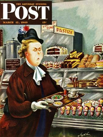 """NO Desserts,"" Saturday Evening Post Cover, March 12, 1949 by Constantin Alajalov"
