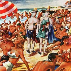 """""""Palefaces at the Beach,"""" July 27, 1946 by Constantin Alajalov"""