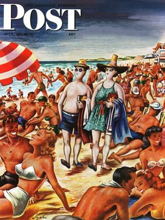 """""""Palefaces at the Beach,"""" Saturday Evening Post Cover, July 27, 1946 by Constantin Alajalov"""
