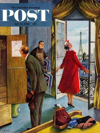 """Paris Hotel"" Saturday Evening Post Cover, July 14, 1956 by Constantin Alajalov"