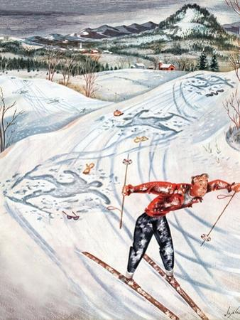 """""""Snow Skiier After the Falls,"""" January 25, 1947 by Constantin Alajalov"""