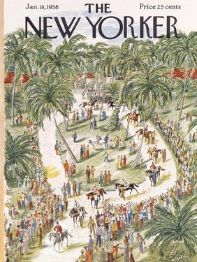 The New Yorker Cover - January 18, 1958 by Constantin Alajalov