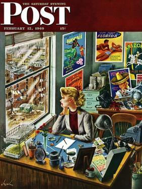"""""""Travel Agent at Desk,"""" Saturday Evening Post Cover, February 12, 1949 by Constantin Alajalov"""