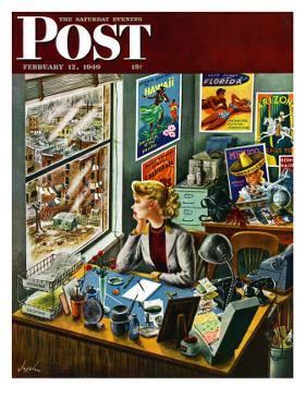"""Travel Agent at Desk,"" Saturday Evening Post Cover, February 12, 1949 by Constantin Alajalov"