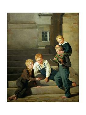 Boys playing dice in front of Christiansborg palace in Copenhagen. by Constantin Hansen