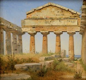 The Temple of Athena, Paestum by Constantin Hansen