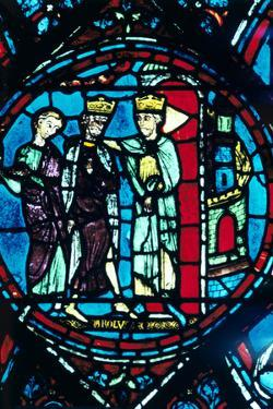 Constantine Greets Charlemagne at Constantinople, Stained Glass, Chartres Cathedral, France, C1225
