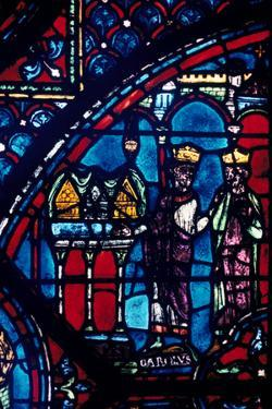 Constantine Presents Relics to Charlemagne, Stained Glass, Chartres Cathedral, France, C1225