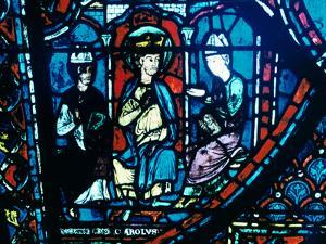 Constantine's Letter Presented to Charlemagne, Stained Glass, Chartres Cathedral, France, C1225