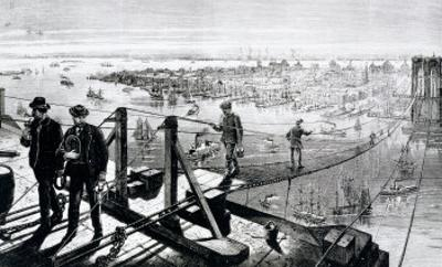 Construction of Brooklyn Bridge, New York