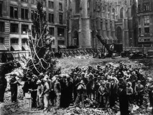 Construction Workers Line up for Pay Beside the First Rockefeller Center Christmas Tree