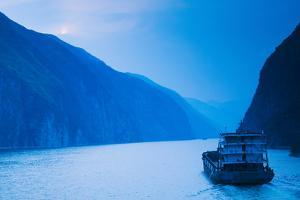 Container Ship in the River at Sunset, Wu Gorge, Yangtze River, Hubei Province, China
