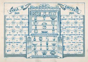 Contents Page, Based around an Open China Cabinet with Blue and White Tiles on Either Side