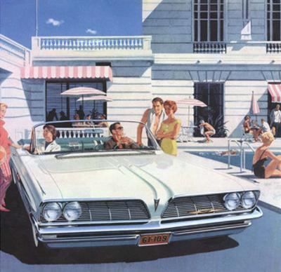 Convertible by the Swimming Pool, Mid-Century Modern Ad