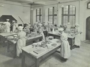 Cookery Class, Hammersmith Trade School for Girls, London, 1915