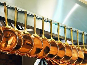 Copper Pans in a Large Kitchen
